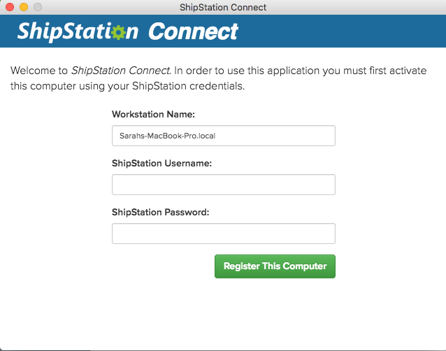 Register ShipStation Connect menu in MacOS.