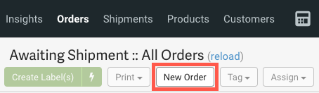 Closeup of Orders grid. Red box highlights New Order button