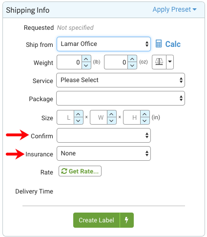 Shipping Info: Arrows point to Confirmation and Insurance dropdowns