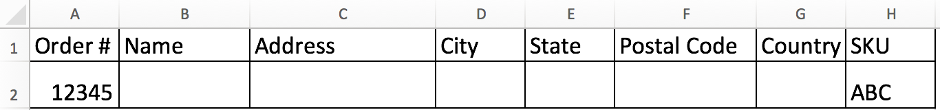 An order CSV file in Excel with order information filled in for order number and SKU columns.