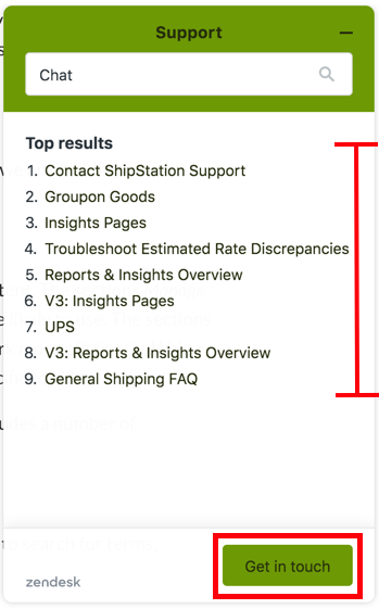 Support dialog box. I-bar shows Top Results for search term. Box highlights Get in touch button.