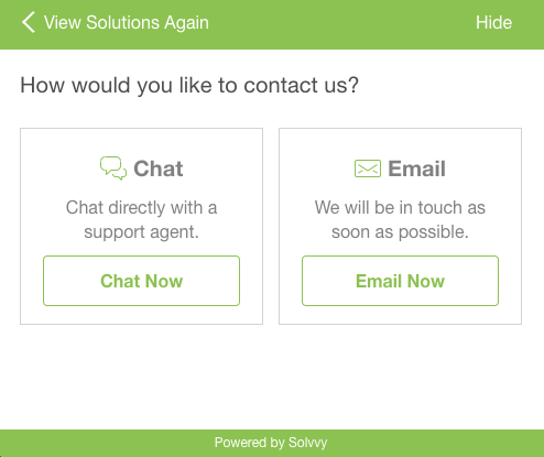 Contact Support pop-up that provides a chat and email option