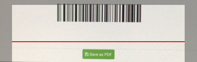 Mobile phone camera image with red line near barcode.