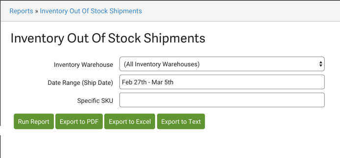 Inventory Out of Stock Shipments report download menu.