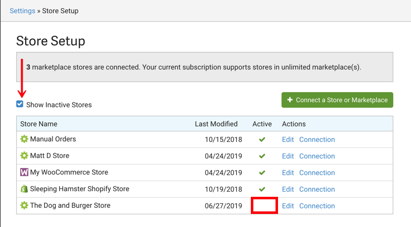 Store Setup page. Arrow points to Show Inactive Stores checkbox. Red box highlights blank space (no checkmarks) under Active column.
