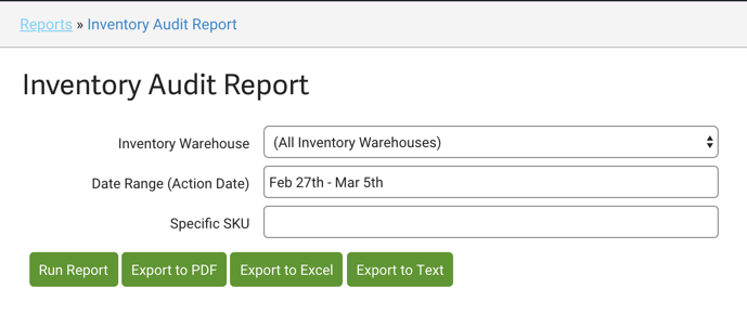 Inventory Audit Report options.