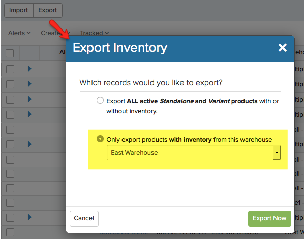 Export Inventory pop-up menu with Only export products with inventory highlighted.