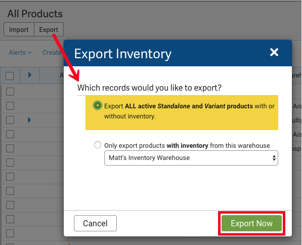 Export Inventory pop-up with Export All Active Standalone and Variant products with or without inventory highlighted.