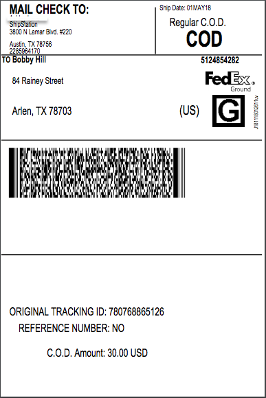 Cash on Delivery Label Sample