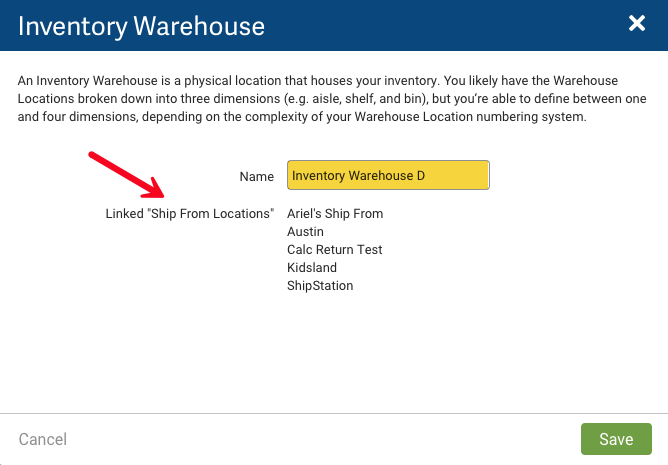 Inventory Warehouse popup. Red arrow points to Linked Ship From Locations