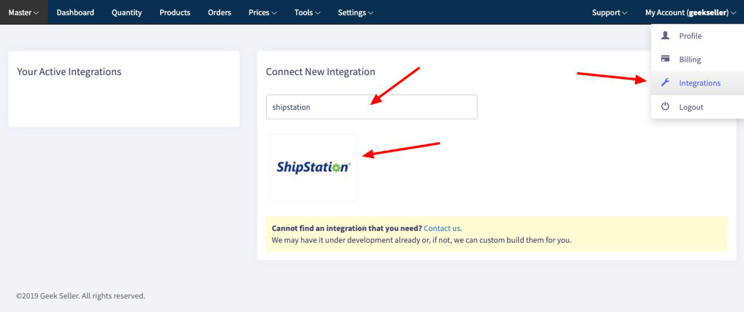 Geekseller extensions menu with ShipStation highlighted.
