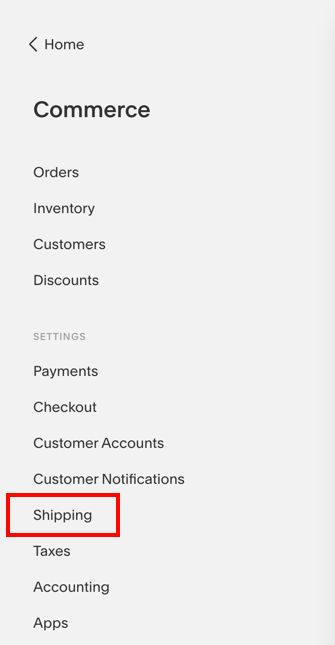 SquareSpace Commerce menu with Shipping option highlighted.