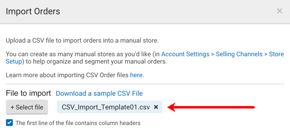 Closeup of CSV Import pop-up. Red arrow points to CSV file that user selected for import.