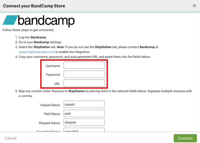Connect Bandcamp Store form with credential fields highlighted.