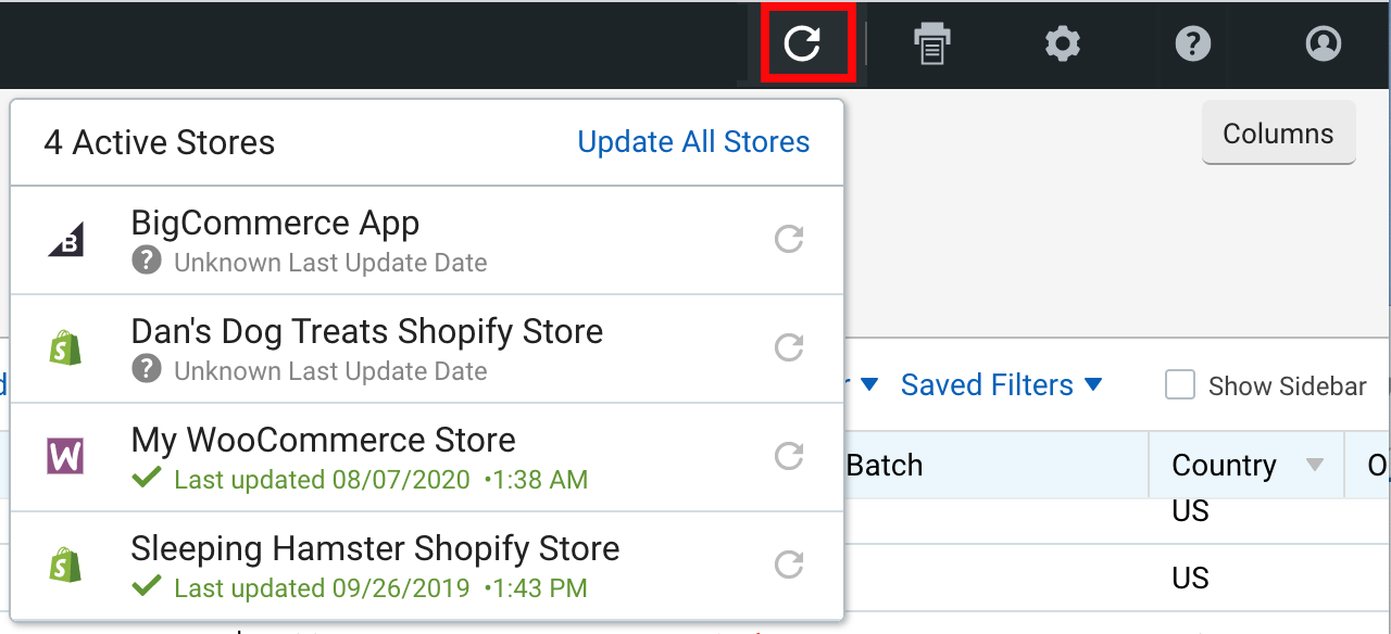 V3 Import Orders drop-down menu with Import icon highlighted.