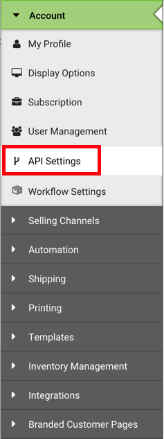 Settings Sidebar: Account dropdown. Red box highlights API Settings option.