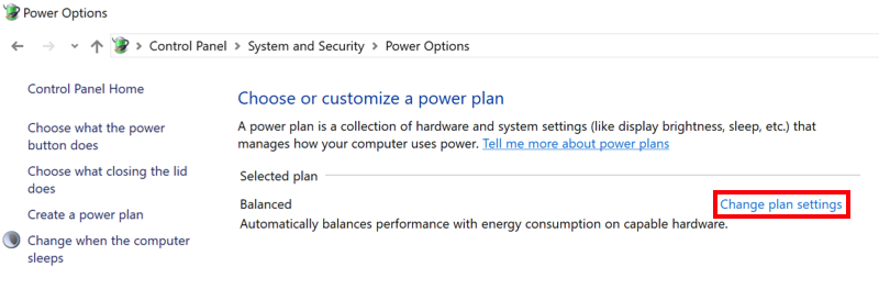 Windows Power Option menu with Change Plan Settings highlighted.
