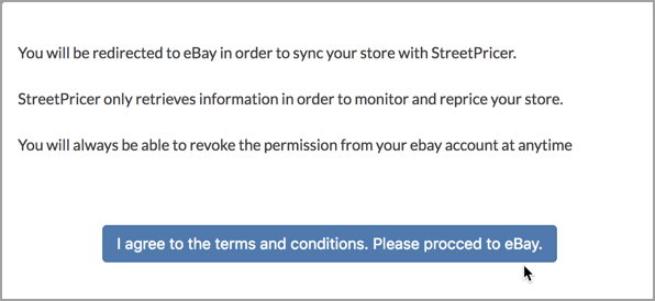 Streetpricer Agree to Terms and Conditions button.