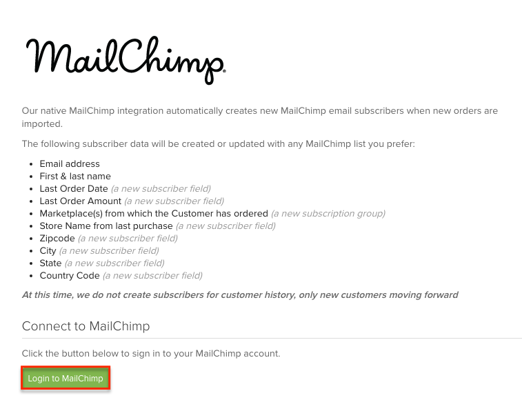 MailChimp connection page with Login to MailChimp button highlighted.