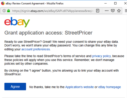 eBay Grand Permission to StreetPricer pop-up