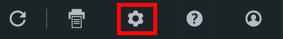 Closeup of Toolbar. The red box highlights the icon for Settings.