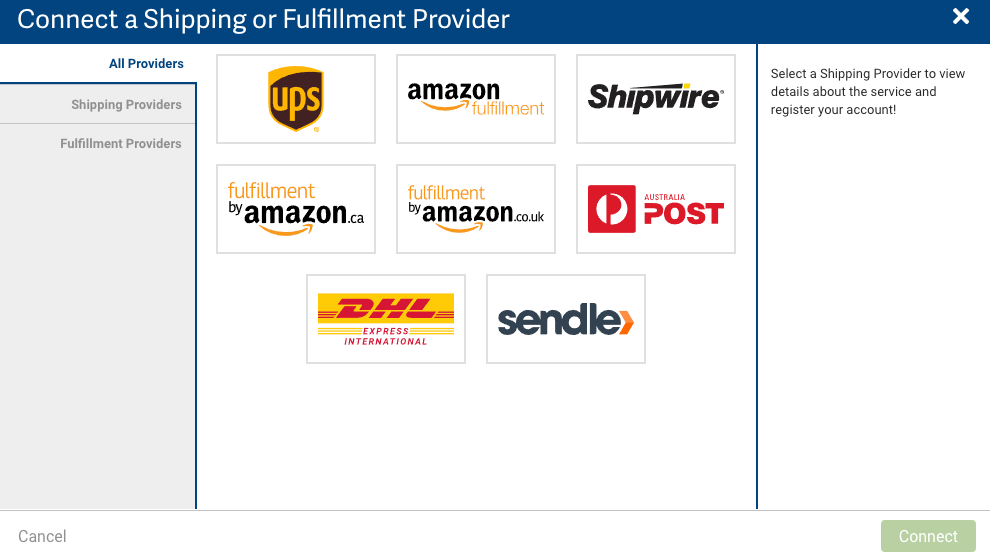 Connect a Shipping or Fulfillment Provider popup, All Providers tab.