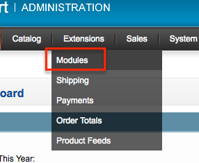 Opencart extensions menu with Module option highlighted.