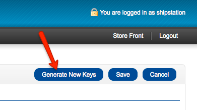 Opencart extensions modules with arrow pointing to Generate New Keys button.