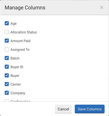 Manage Columns popup from Orders grid. Checked boxes indicate column titles will display in Orders grid.