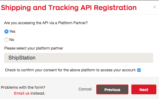 StarTtrac API registration Partner page