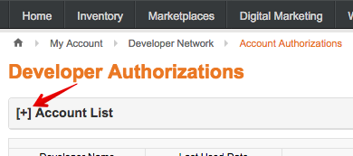 ChannelAdvisor Account Authorizations menu with arrow pointing to Account Lists.