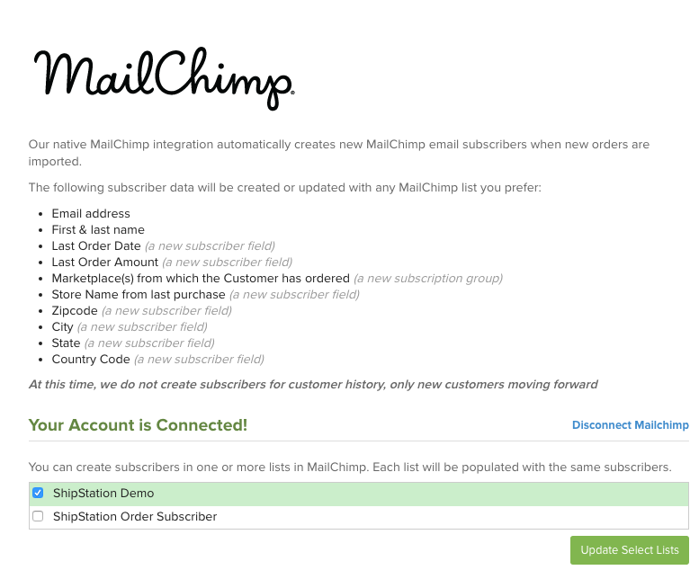 MailChimp select account