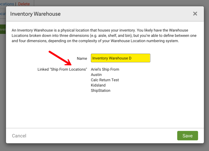 "Inventory Warehouse popup. Red arrow points to Linked ""ShipFrom Locations"""