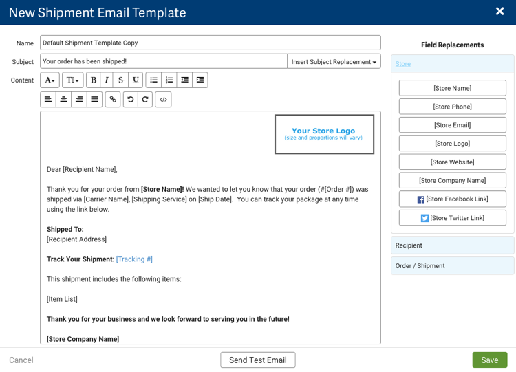 WYSIWYG Editor for the New Shipment Email Template.
