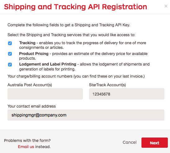 StarTrack API registration form
