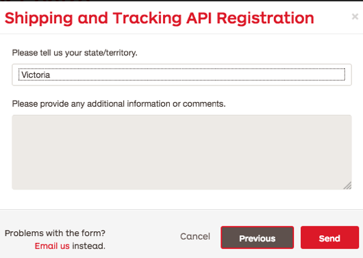 StarTrac API registration Territory selection