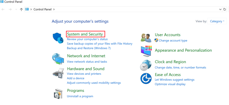 Windows Control Panel with Systems and Security option highlighted.