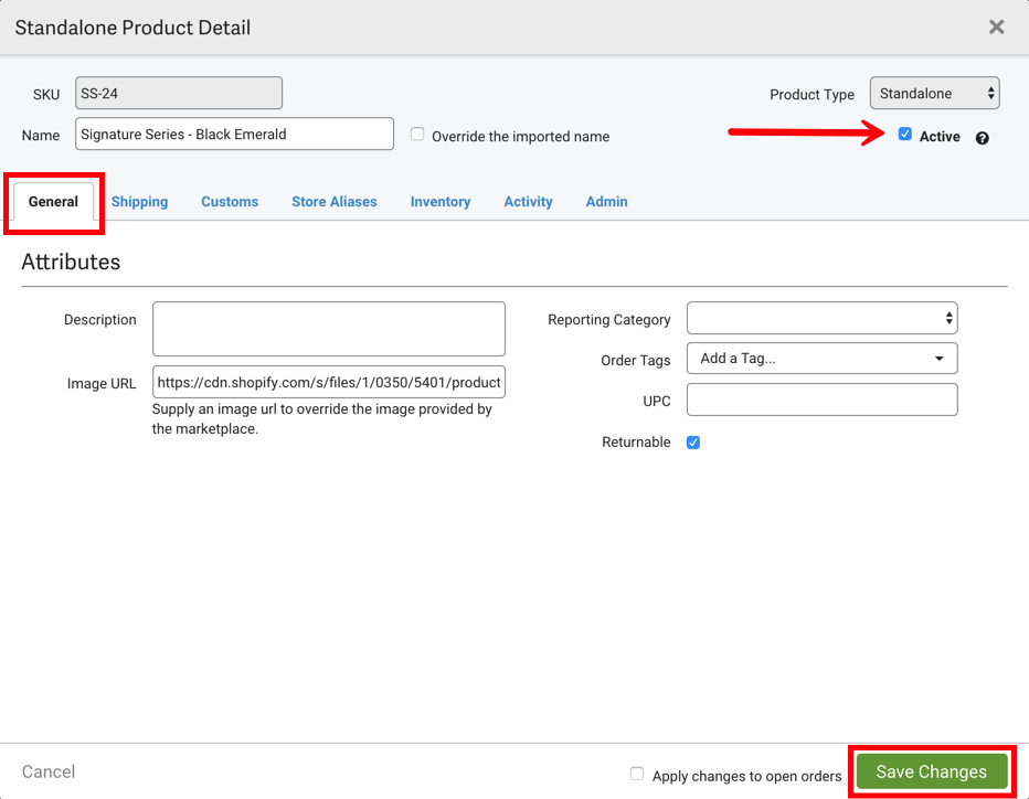 Product details general tab with arrow pointing to Active checkbox.
