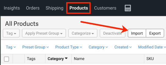 V3 Product tab highlighted with arrow pointing to Import button.