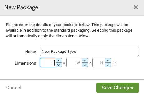 New Package popup. Has Name field & Dimensions dropdown menus. Save Changes button.